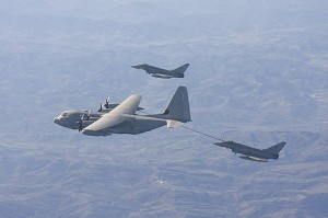 Italian Air Force Eurofighters in air-to-air refuelling mission