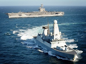 HMS Daring joins up with US carrier groups