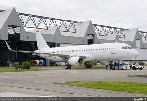 First new-build Sharklet-equipped A320 completed in Toulouse