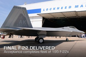 Air Force Accepts Final F-22 Raptor