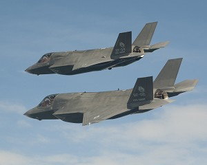 F-35B aircraft in formation