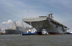 US Navy Christens Future USS America (LHA 6)