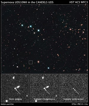 Hubble Breaks Record in Search for Farthest Supernova