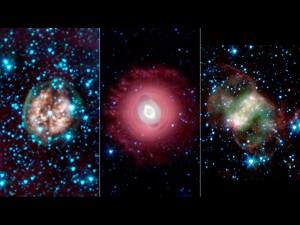A Ghostly Trio from NASA's Spitzer Space Telescope