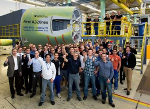 A320neo becomes reality: Premium AEROTEC delivers 1st fuselage sections