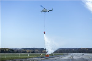 Unmanned Team of K-Max Helicopter and Indago Quadrotor Demo Firefighting Capability