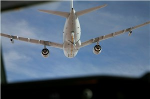 1st RAAF KC-30A Operational Boom Refuelling With an E-7A Wedgetail Above Iraq