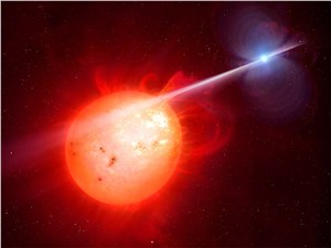 White Dwarf Lashes Red Dwarf with Mystery Ray