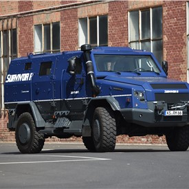 Rheinmetall MAN Survivor R Special Protected Vehicle on Show at GPEC 2020 International Security Exhibition in Frankfurt/Main